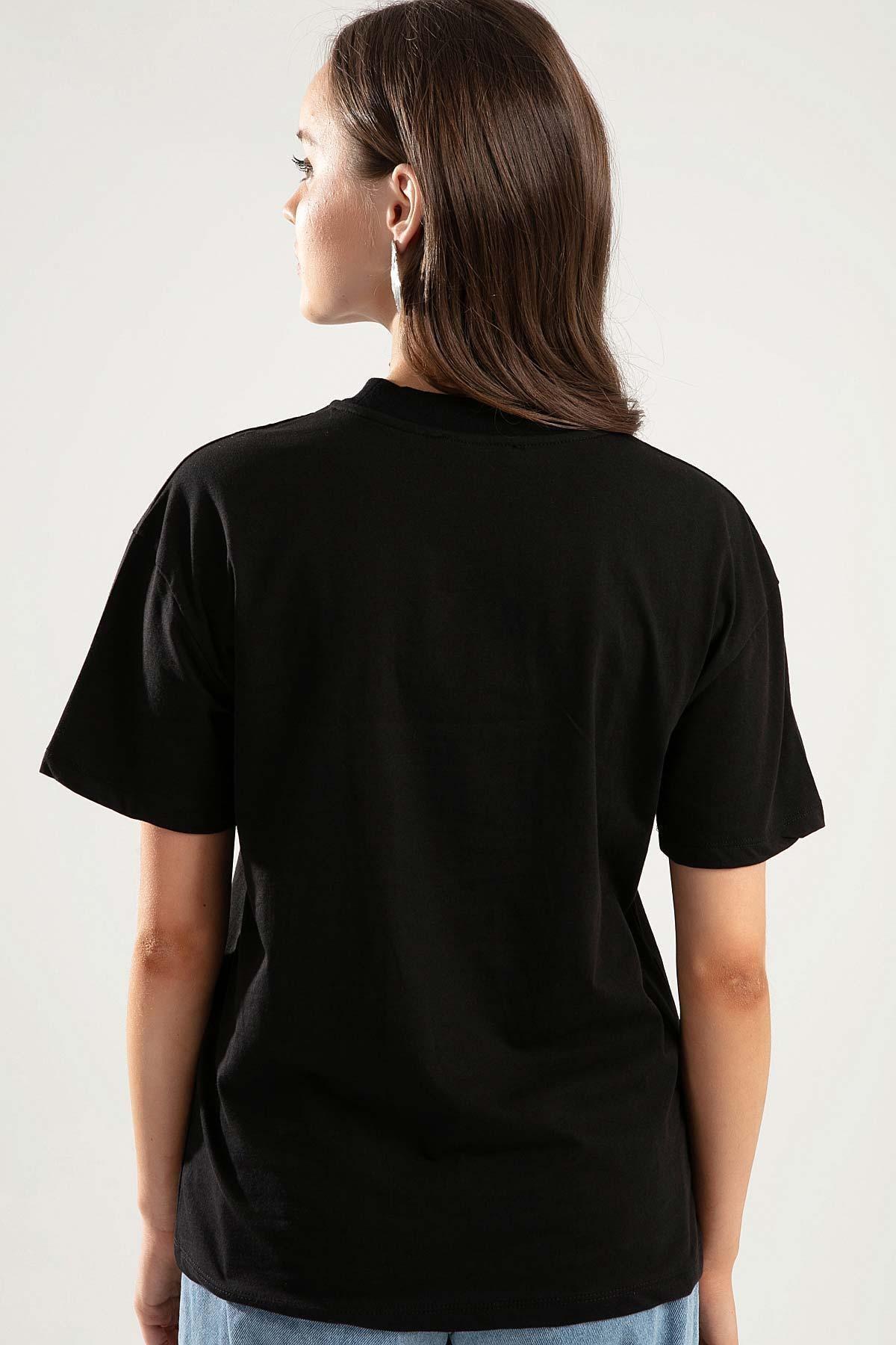Pattaya Kadın Siyah Dik Yaka Basic Tişört PTTY20S-701 3