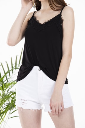 Çıtı Pıtı Siyah Yakası Dantelli Ayarlanabilir Ip Askılı Bluz 2