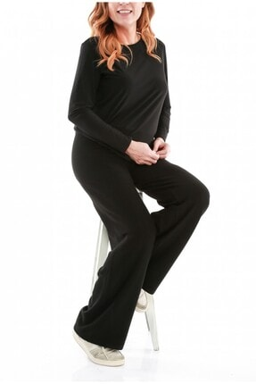 Picture of Kadın Siyah Annie Yün Triko Pantolon fw01591tb