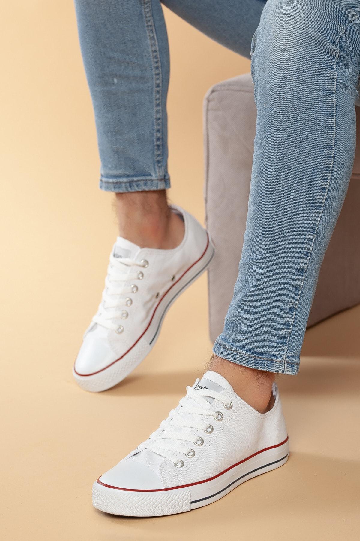 Daxtors Beyaz Günlük Ortopedik Erkek Keten Spor Ayakkabı  DXTRMCONT005 1