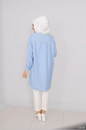 SULTAN BUTİK Bebe Mavisi Pamuklu Gömlek Tunik 1