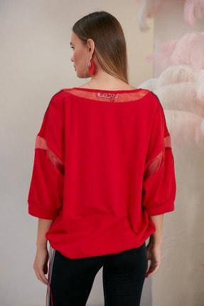 SONESTA Kadın Kırmızı Baskılı Ve Taşlı Stil T-shirt 1