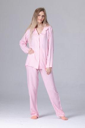Pijama Denizi Uzun Kollu Gömlek Yaka Düğmeli Pijama Takımı Pembe Çizgili 3