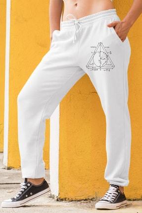 Angemiel Wear Geometrik Şekiller Kadın Eşofman Takımı Mavi Kapşonlu Sweatshirt Beyaz Eşofman Altı 1