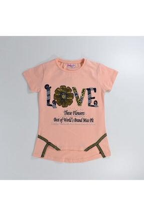 Mersevkids Kız Çocuk Somon Love Baskılı Çiçekli Takım 6-9 Yaş 1