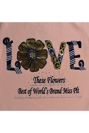Mersevkids Kız Çocuk Somon Love Baskılı Çiçekli Takım 6-9 Yaş 2