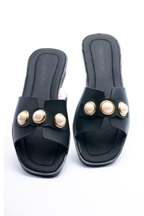 OCT Shoes Taşlı Siyah Kadın Terlik TS1035 1