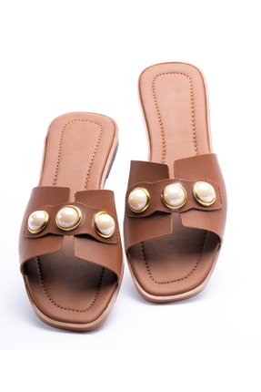 OCT Shoes Taşlı Taba Kadın Terlik TS1035 1