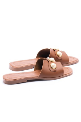 OCT Shoes Taşlı Taba Kadın Terlik TS1035 3