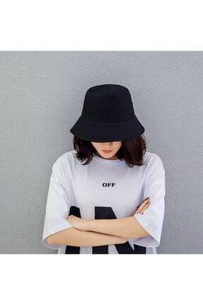 Köstebek Düz Siyah Kova Şapka Balıkçı Şapka Bucket Hat 1
