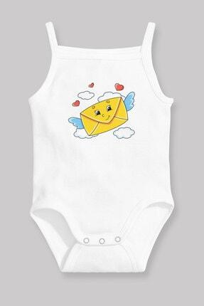 Angemiel Baby Mektup Kuşu Kız Bebek Askılı Zıbın Body Atlet Beyaz 0