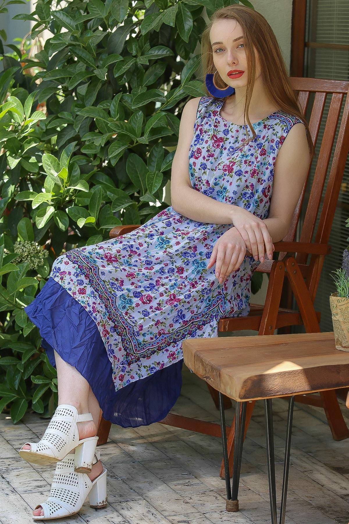 Chiccy Kadın Lacivert-Beyaz Bohem Çıtır Çiçek Desenli Düşük Kollu Astarlı Tülbent Elbise M10160000El96822