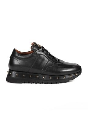 Sofia Baldi Kadın Anaya Siyah Deri Pimli Sneaker 0
