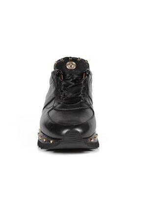 Sofia Baldi Kadın Anaya Siyah Deri Pimli Sneaker 2