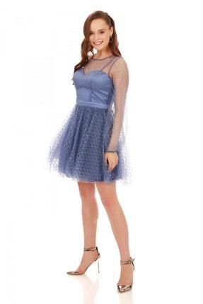 6ixty8ight İndigo Tül Glitterli Uzun Kollu Abiye Elbise 1