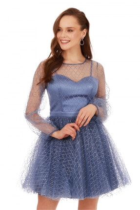 6ixty8ight İndigo Tül Glitterli Uzun Kollu Abiye Elbise 2