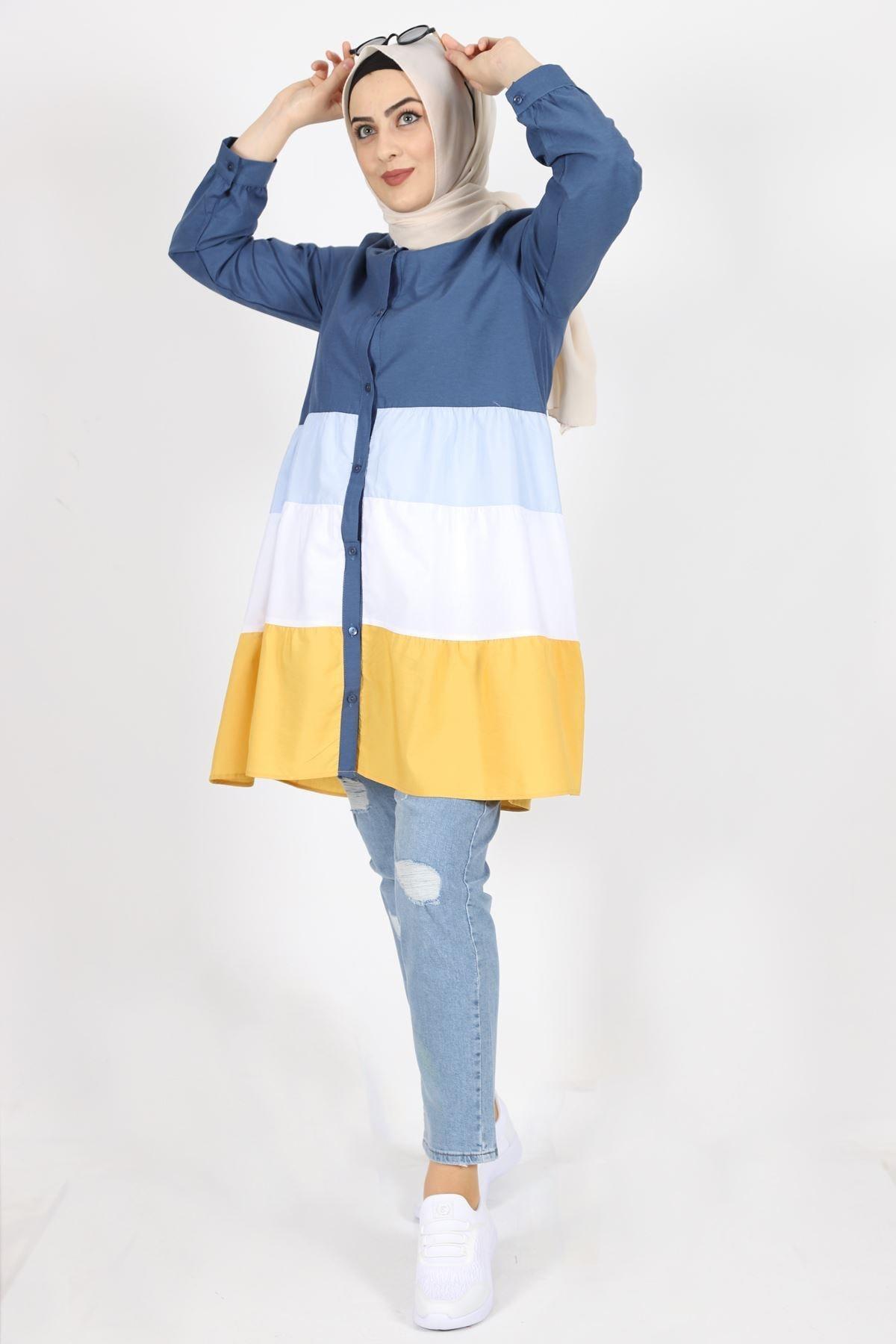 7101 Cotton Kumaş Bayan Gömlek Tunik - Lacivert