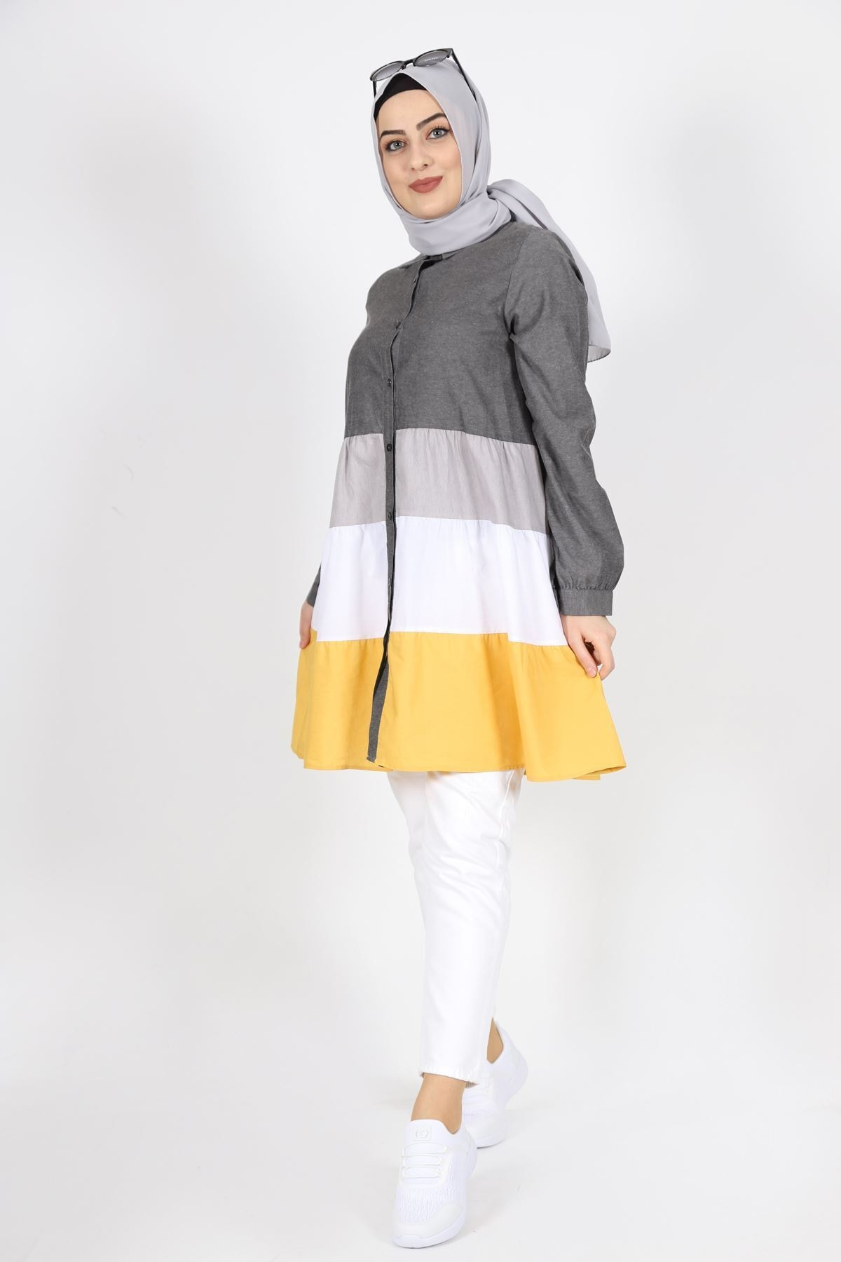 7101 Cotton Kumaş Bayan Gömlek Tunik - Füme