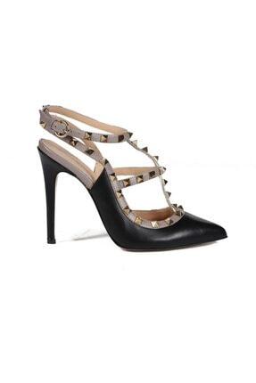 تصویر از Diandra Siyah/vizon Deri Pimli Kadın Stiletto & Abiye Ayakkabı