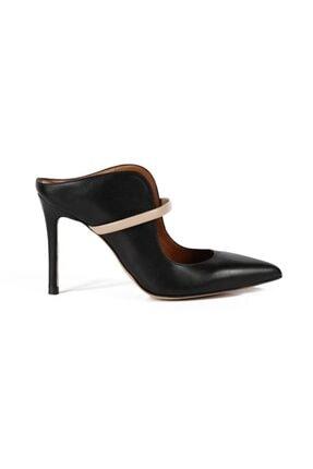 تصویر از Hana Sıyah / Bej Deri Bantlı Kadın Stiletto & Abiye Ayakkabı