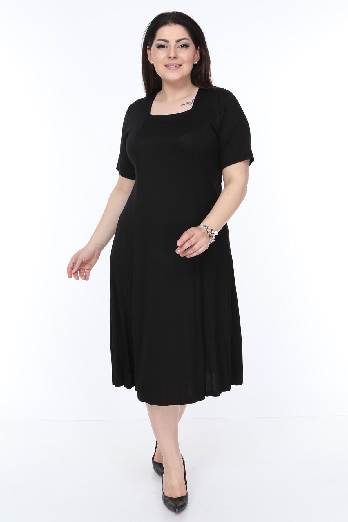 Kısa Kollu Kare Yaka Bayan Elbisesi