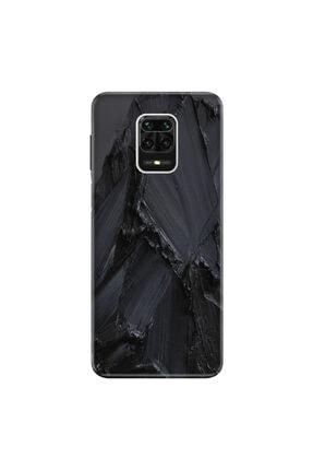 Cekuonline Xiaomi Redmi Note 9s Kılıf Desenli Resimli Hd Silikon Telefon Kabı Kapak - Siyah Beton 0