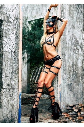 Angels Passion Kadın Siyah Deri Harness Takım - Apft363 0