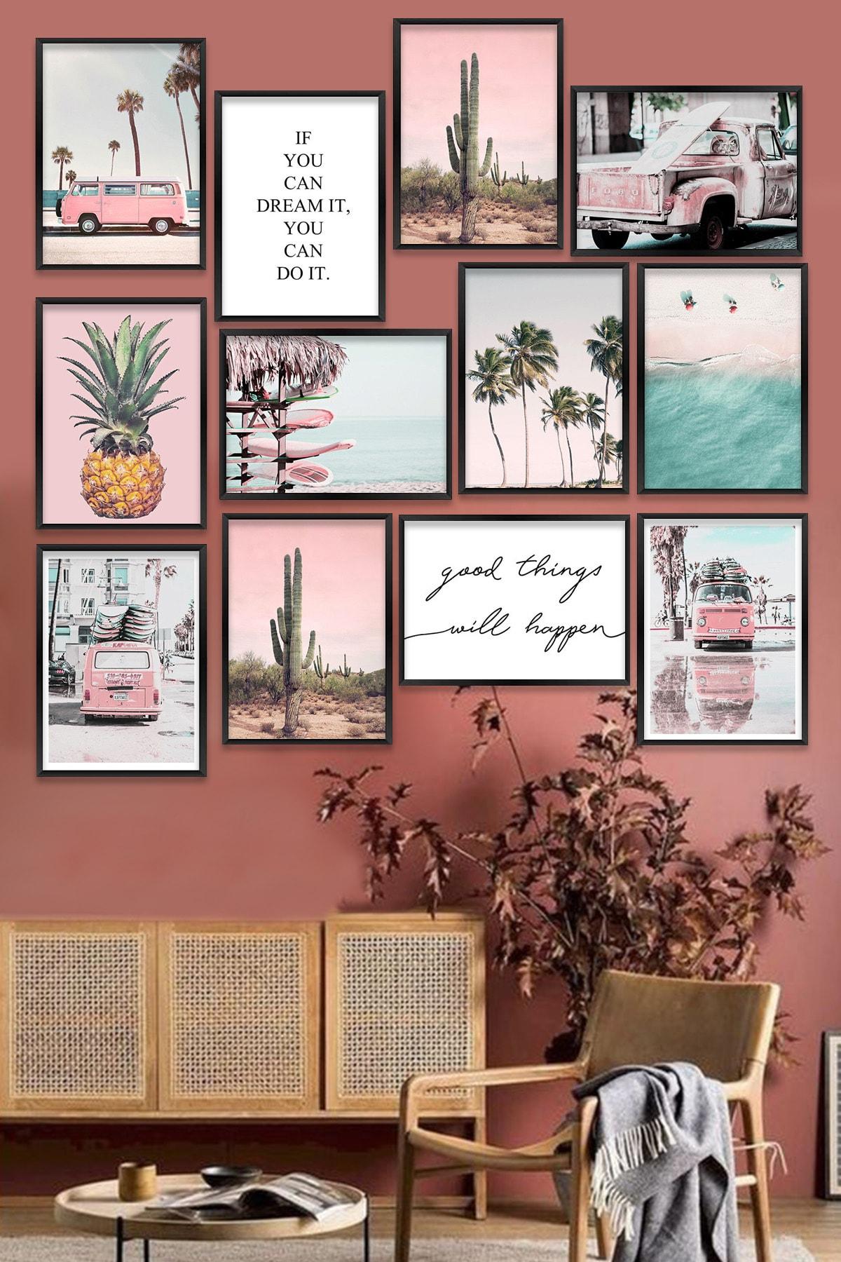 Kate Louise 12 Parça Çerçeve Görünümlü Mdf Tablo Seti (80x80 Cm) 0