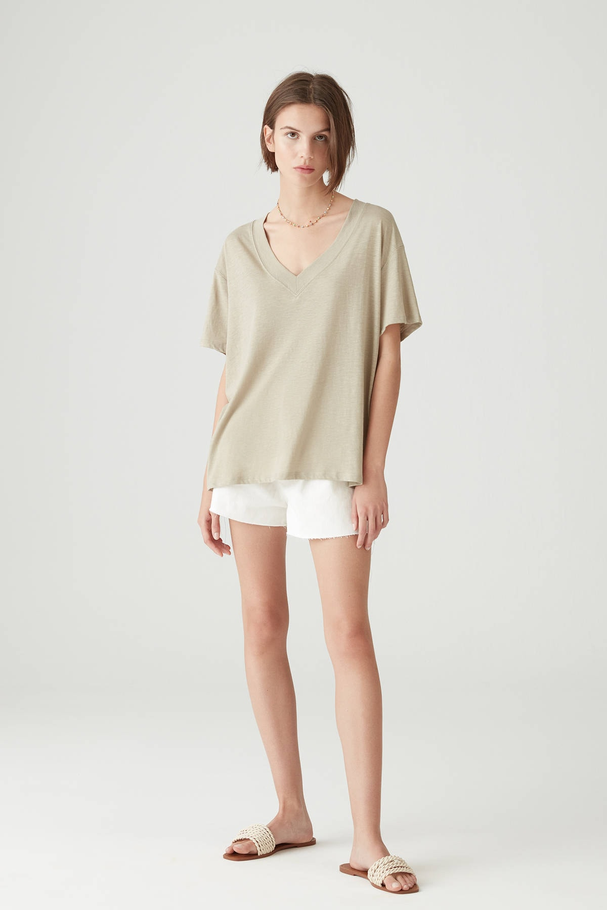 Pull & Bear Kadın Açık Haki Basic Oversize Düğümlü Örgü T-Shirt 05236324 1