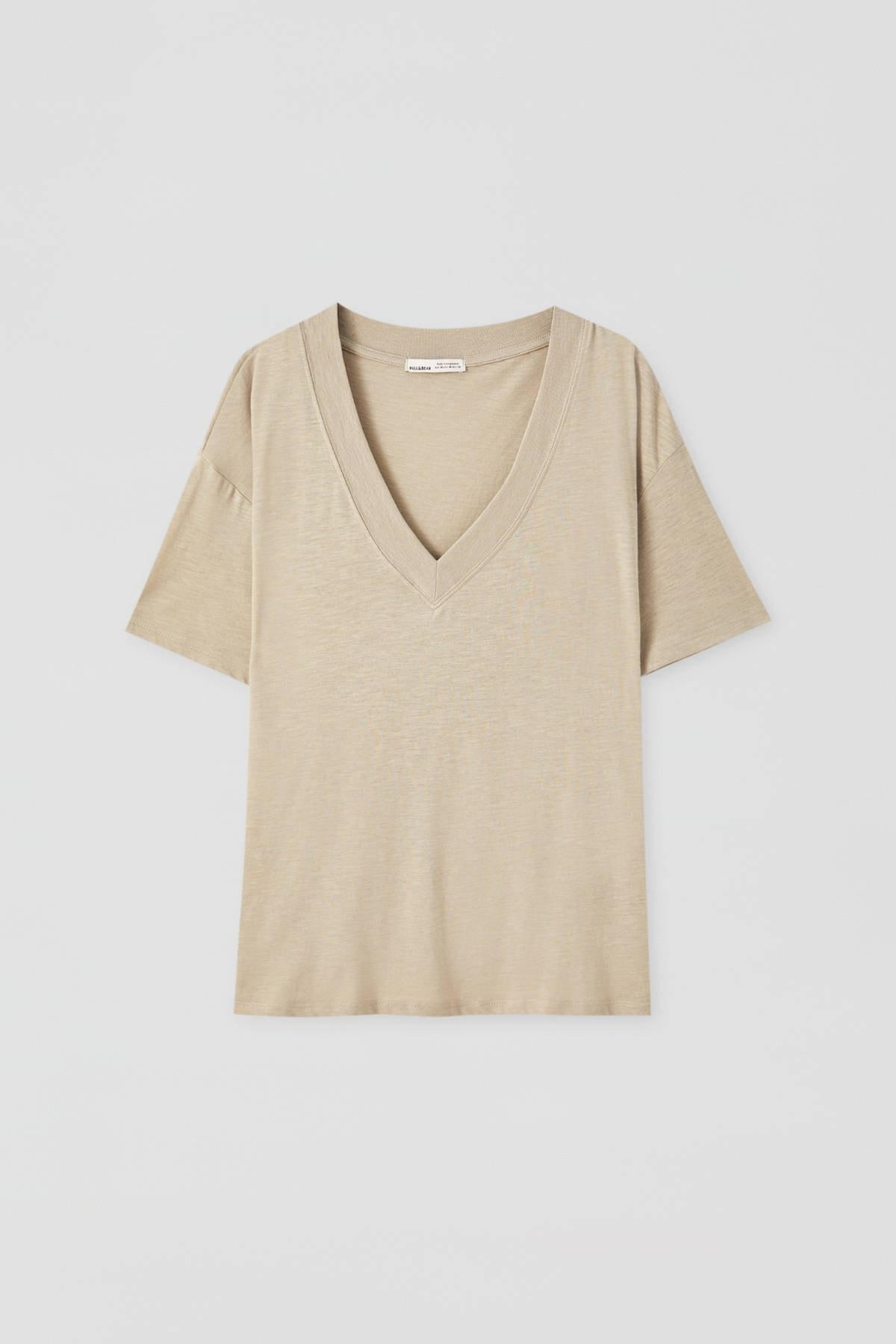 Pull & Bear Kadın Açık Haki Basic Oversize Düğümlü Örgü T-Shirt 05236324 4