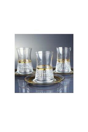 Paşabahçe Azra 6 Kişilik Çay Bardağı Takımı-Gold 0