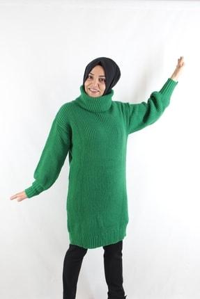 Duha Store Boğazlı Triko Tunik Yeşil 1