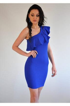 lovebox Esnek Dalgıç Kumaş Saks Mavisi Mini Elbise 1