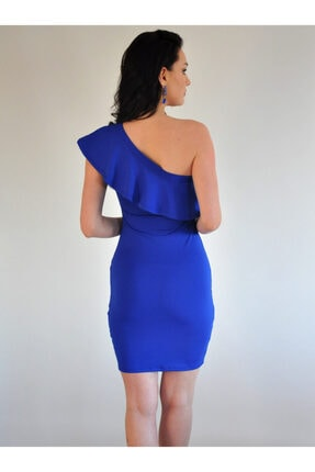 lovebox Esnek Dalgıç Kumaş Saks Mavisi Mini Elbise 4