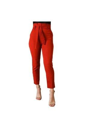 Yüksek Bel Kuşaklı Kiremit Rengi Kadın Havuç Pantolon ybkk001