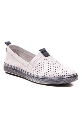 GRADA Beyaz Hakiki Deri Bağcıksız Kadın Ayakkabı 0