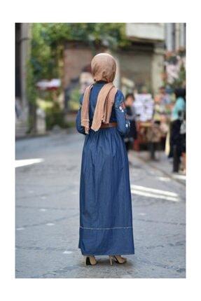 Modamihram Kolları Nakışlı Tesettür Elbise Koyu Kot 1