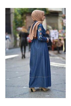 Modamihram Kolları Nakışlı Tesettür Elbise Koyu Kot 3