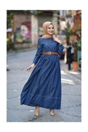 Modamihram Kolları Nakışlı Tesettür Elbise Koyu Kot 4