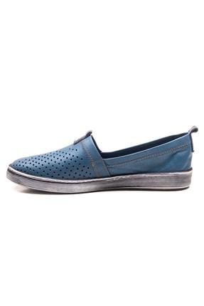 GRADA Mavi Hakiki Deri Bağcıksız Kadın Ayakkabı 2