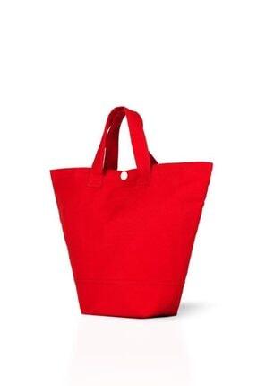 Çınar Bez Çanta Kırmızı Gabardin Kumaş Çanta 38x29x11 cm (220 gr) 0