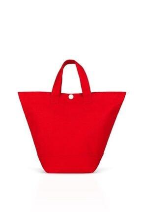 Çınar Bez Çanta Kırmızı Gabardin Kumaş Çanta 38x29x11 cm (220 gr) 1