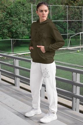 Angemiel Wear Geometrik Şekiller Kadın Eşofman Takımı Yeşil Kapşonlu Sweatshirt Beyaz Eşofman Altı 0