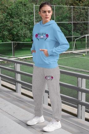 Angemiel Wear Believe In Yourself Kadın Eşofman Takımı Mavi Kapşonlu Sweatshirt Gri Eşofman Altı 0