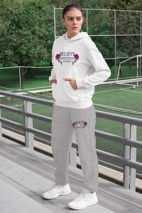 Angemiel Wear Believe In Yourself Kadın Eşofman Takımı Beyaz Kapşonlu Sweatshirt Gri Eşofman Altı 0