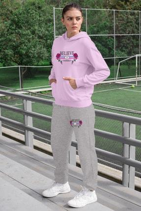 Angemiel Wear Believe In Yourself Kadın Eşofman Takımı Pembe Kapşonlu Sweatshirt Gri Eşofman Altı 0
