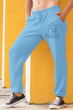 Angemiel Wear Geometrik Şekiller Kadın Eşofman Takımı Gri Kapşonlu Sweatshirt Mavi Eşofman Altı 1