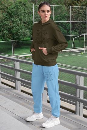 Angemiel Wear Geometrik Şekiller Kadın Eşofman Takımı Yeşil Kapşonlu Sweatshirt Mavi Eşofman Altı 0