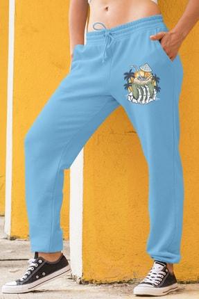 Angemiel Wear Tatilci Iskelet Kadın Eşofman Takımı Yeşil Kapşonlu Sweatshirt Mavi Eşofman Altı 1