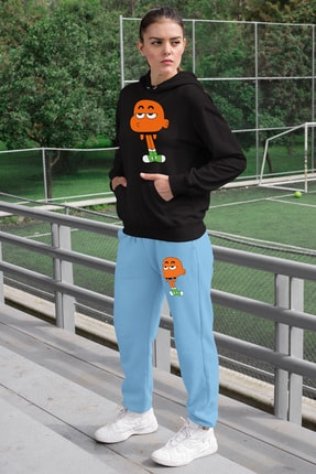 Angemiel Wear Canı Sıkkın Darwin Kadın Eşofman Takımı Siyah Kapşonlu Sweatshirt Mavi Eşofman Altı 0